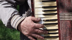 Old man plays on old accordion stock video