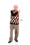 Old man pointing white board Stock Image