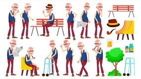 Old Man Poses Set Vector. Elderly People. Senior Person. Aged. Friendly Grandparent. Banner, Flyer, Brochure Design. Old Man Poses Set Vector. Elderly People stock illustration