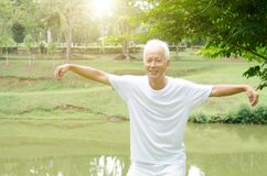 Old man practicing qigong in the park. Portrait of healthy white hair Asian senior man practicing qigong at outdoor park in morning Stock Images
