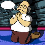 Old man praying with speech bubble Stock Photo
