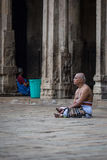 The old man is praying in a temple Royalty Free Stock Photography