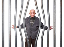 Old man in prison Stock Images