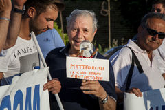 Old man protest against italian chairman Matteo Renzi Stock Photo