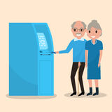 Old man puts an electronic card into the ATM. Vector illustration grandfather and grandmother got a plastic credit card. Old man puts an electronic card into the royalty free illustration
