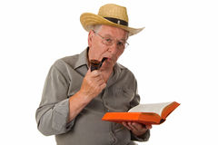 Old man reading Stock Images