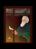Old man reading at the window. Cat and candle near him royalty free illustration