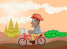 Old man riding bicycle in the afternoon. Illustration of old man riding bicycle with orange sky background and trees Royalty Free Stock Photography