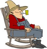 Old Man In A Rocking Chair. This illustration depicts an old man sitting a rocking chair smoking a pipe Royalty Free Stock Photos