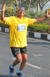Old Man running at Hyderabad 10K Run Event Stock Photo