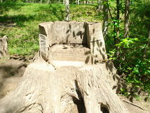 Old Man's Cave. Chair carved out of a stump at Old Man's Cave in Ohio Stock Photos