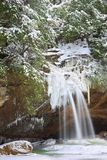 Old Man`s Cave Lower Falls in Winter Stock Photos