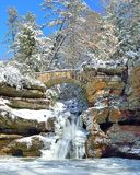 Old Man's Cave Upper Falls in Winter Stock Image