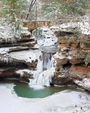 Old Man`s Cave Upper Falls in Winter Stock Photos