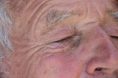 Old man`s closed eyes Royalty Free Stock Photos