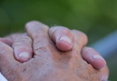 Old man`s crossed hands Stock Image