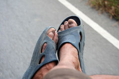 Old Man`s Foot Rural dirty. Looks from hard work Royalty Free Stock Image
