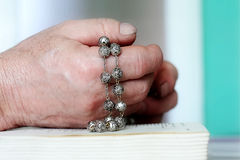 Old man's hands when praying. Close up Royalty Free Stock Image