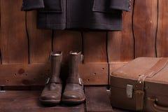 Old man's set of clothes. Stock Photos