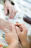 Old man's wrinkled hands Stock Photos
