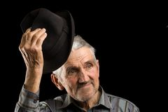 Old man saluting Royalty Free Stock Photo