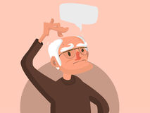 Old man scratches his head stock illustration