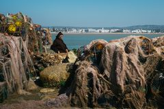 The old man and the sea. Old man surrounded by fishing nets. The old man and the sea as seen in a harbour in Essaouira, Morocco. He is surrounded by fishing stock images