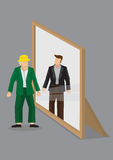 Old Man Sees Himself as Young Man in Mirror Cartoon Vector Illus. Old man looks into mirror and sees himself as young man in reflection. Creative cartoon vector Stock Photography