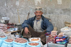 Old man selling dryfruits in Ladakh - Kashmir Royalty Free Stock Image