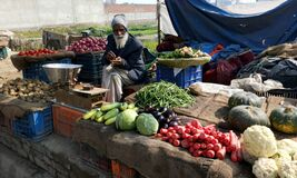 Old man selling vegetables. image from India.