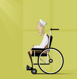 Old man, senior with grey hair sit in wheelchair. Stock Photography