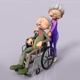 Old man senior in wheelchair. Wife or nurse pushing him vector illustration