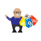 Old man shopping Stock Photography