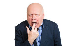 Old man showing disgust Stock Image