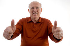 Old man showing thumb up with both hands Royalty Free Stock Photography