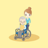 Old man sit on wheelchair Royalty Free Stock Photo