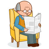 Old man sitting in armchair reading the news Stock Image
