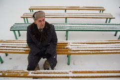 Old man sitting on the bench. In the park royalty free stock photo