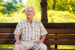 Old man sitting on bench. Stock Photos