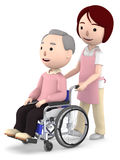 A female helper to help with an old man sitting on a wheelchair ,3D illustration. Old man sitting on a blue seated wheelchair. 3D illustration Royalty Free Stock Photography