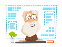 Old man sitting front computer monitor Online education Royalty Free Stock Image