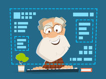 Old man sitting front computer monitor Online education Stock Images