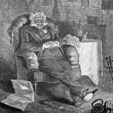 Old man sitting in front of fire. The old bachelor in an easy chair, in front of a cozy fire. Vintage drawing, lineart, engraved Stock Image