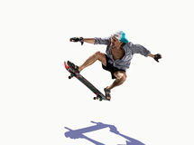 Old  Man skating white  Royalty Free Stock Image
