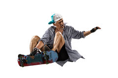Old Man skating white stock image