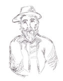 Old man sketch hand drawn Royalty Free Stock Images