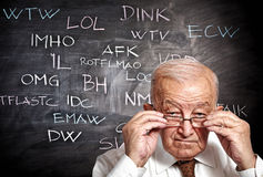 Old man and slang Royalty Free Stock Image