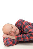 Old man sleeps on floor. Stock Photo