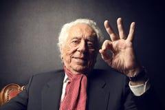 Old man smiling Stock Photo
