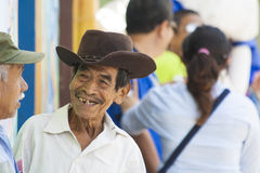 Old man smiling. And wearing a hat in Ataco, El Salvador Stock Images